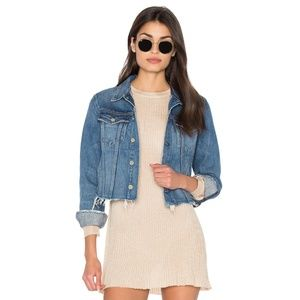 NWT GRLFRND Cara Cropped Distressed Denim Jacket